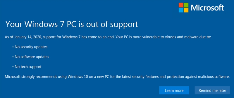 win7 is out of support